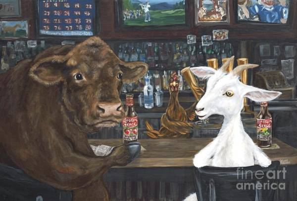 Hereford Bull Painting - Bully And The Kid, The Bartender Is A Little Chicken by Wendy Alibozek