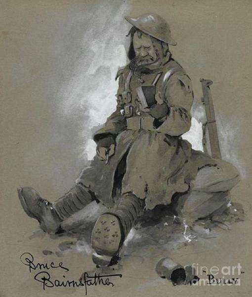 Dday Wall Art - Pastel - Bully. Wwi Drawing by Bruce Bairnsfather