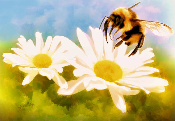 Painting - Bumble Bee On Daisies by Valerie Anne Kelly