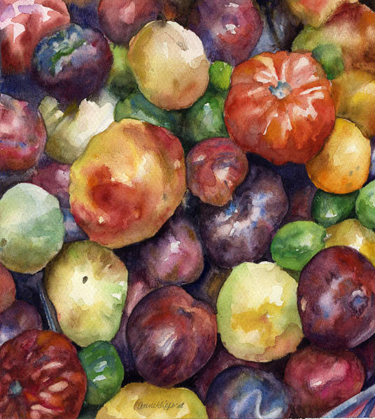 Late Wall Art - Painting - Bumper Crop Of Heirlooms by Anne Gifford