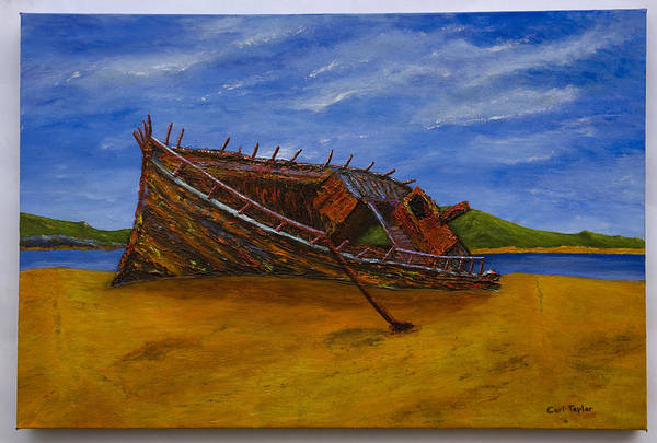 Donegal Painting - Bunbeg Shipwreck Donegal by Carl Taylor