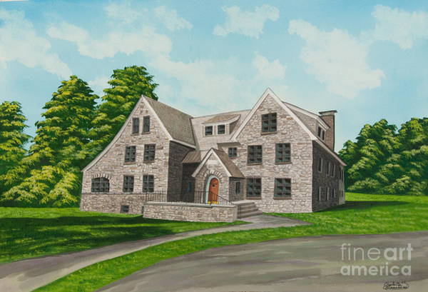 College Campus Painting - Bunch House by Charlotte Blanchard