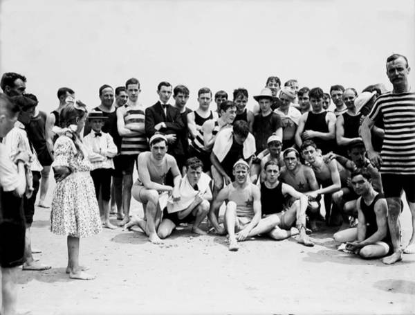 Wall Art - Photograph - Happy Friends In 1905 Coney Island Beach, Brooklyn, New York by Zal Latzkovich
