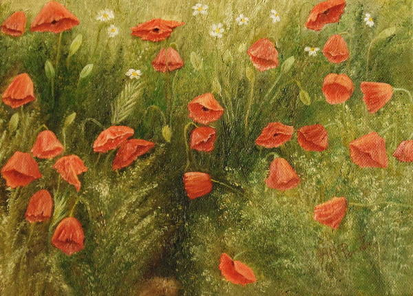 Painting - Bunch Of Poppies by Angeles M Pomata