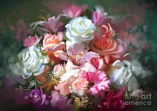 Art Print featuring the painting Bunch Of Roses by Tithi Luadthong