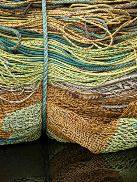 Oregon Coast Wall Art - Photograph - Bundle Of Fishing Nets And Ropes by Carol Leigh