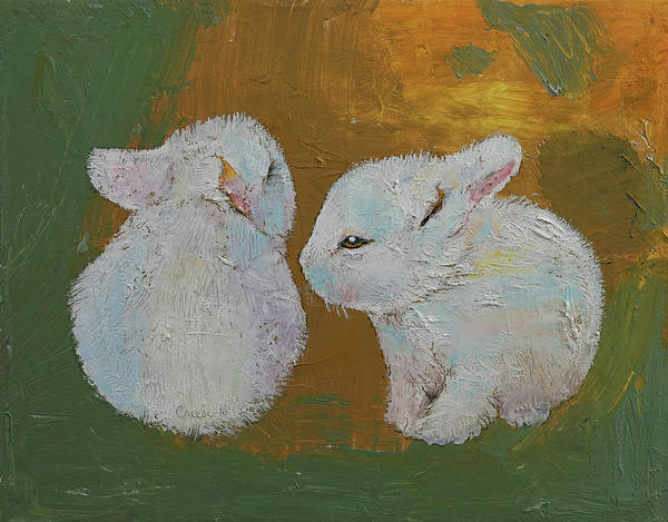 Rabbit Painting - Baby Rabbits by Michael Creese