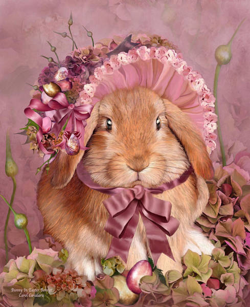 Mixed Media - Bunny In Easter Bonnet by Carol Cavalaris
