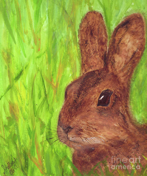 Painting - Bunny In Grass by Shelley Jones