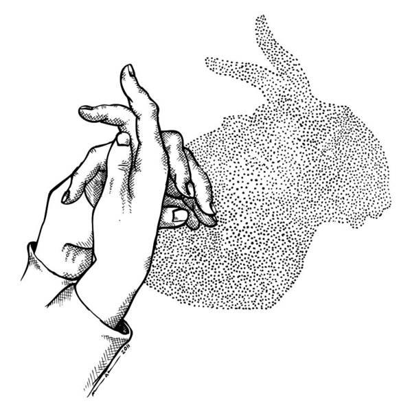 Black Magic Drawing - Bunny Shadow Hands by Karl Addison