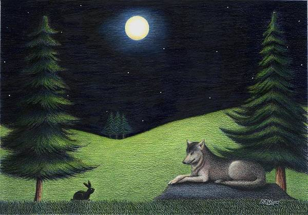 Grass Field Drawing - Bunny Visits Wolf by Danielle R T Haney