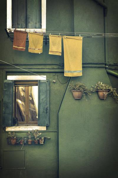 Shutters Photograph - Burano - Green House by Joana Kruse
