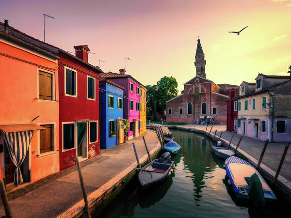 Photograph - Burano And San Martino With The Leaning Tower - Venice, Italy by Nico Trinkhaus
