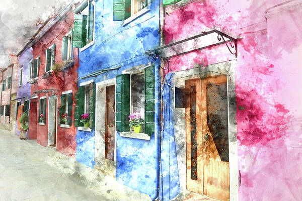 Photograph - Burano Italy Buildings by Brandon Bourdages