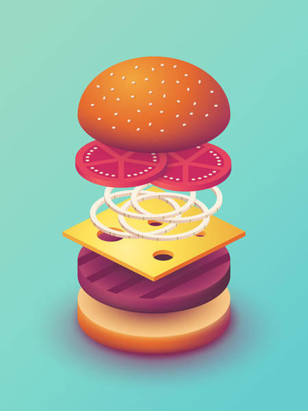 Wall Art - Digital Art - Burger Isometric Deconstructed - Mint by Ivan Krpan