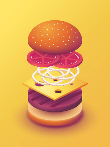 Wall Art - Digital Art - Burger Isometric Deconstructed - Yellow by Ivan Krpan