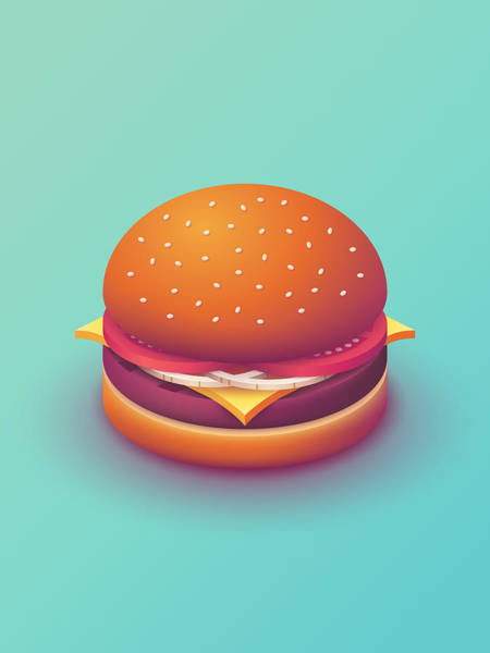 - Burger Isometric - Plain Mint by Ivan Krpan
