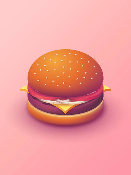 Wall Art - Digital Art - Burger Isometric - Plain Salmon by Ivan Krpan