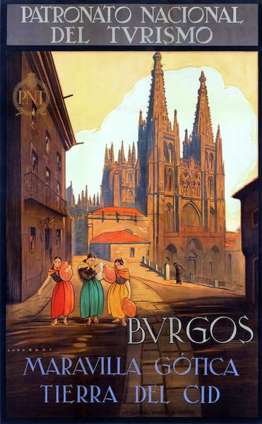 Wall Art - Painting - Burgos Cathedral, Spain, Vintage Travel Poster by Long Shot