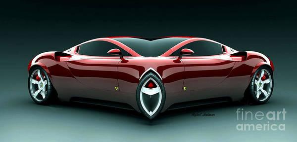 Digital Art - Burgundy Car 0915 by Rafael Salazar