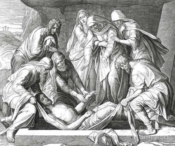 Wall Art - Drawing - Burial Of Jesus, Scene From The Gospel Of John by Julius Schnorr von Carolsfeld