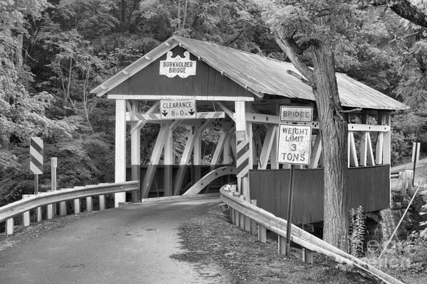 Garrett County Wall Art - Photograph - Burkholder Bridge In The Woods Black And White by Adam Jewell