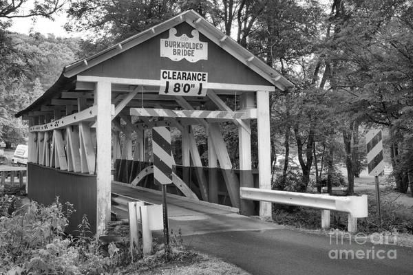 Garrett County Wall Art - Photograph - Burkholder Covered Bridge Black And White by Adam Jewell