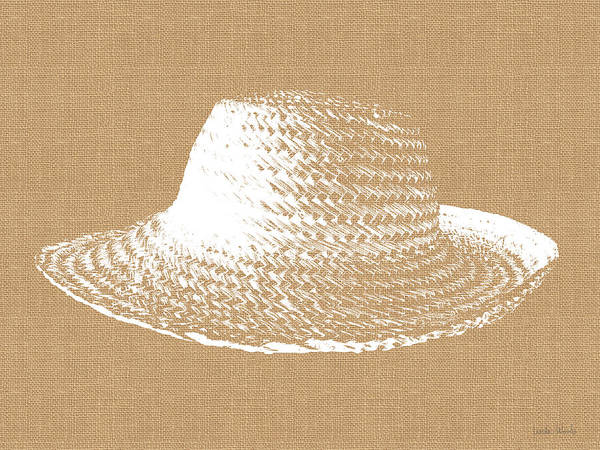 Natural Digital Art - Burlap And White Sun Hat- Art By Linda Woods by Linda Woods
