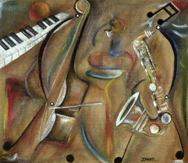 Piano Key Painting - Burlap Sax by Ikahl Beckford