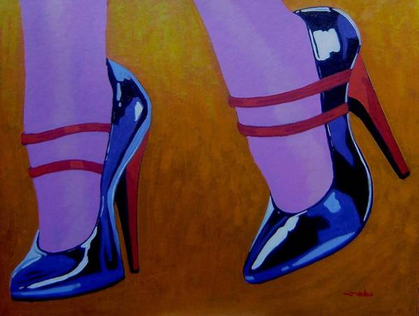 Irish Dance Painting - Burlesque Shoes by John  Nolan