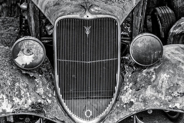 Wall Art - Photograph - Burned Out Car In Black And White by Garry Gay