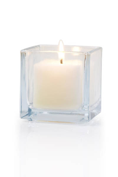 Cubic Wall Art - Photograph - Burning Candle Side View 20 Degree by Atiketta Sangasaeng