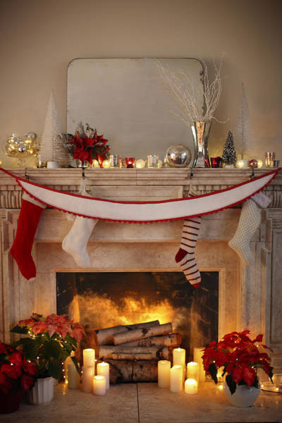 Wall Art - Photograph - Burning Fireplace With Christmas Decor by Gillham Studios
