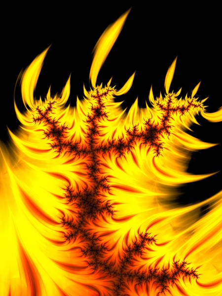 Digital Art - Burning Fractal Flames Warm Yellow And Orange by Matthias Hauser