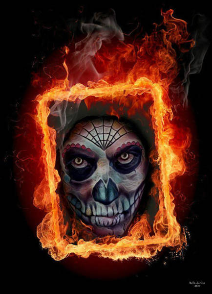 Digital Art - Burning Frame And Skull by Artful Oasis