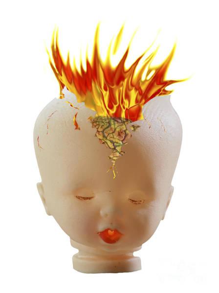 Detonation Digital Art - Burning Head by Michal Boubin