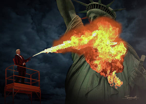 Digital Art - Burning Lady Liberty by M Spadecaller