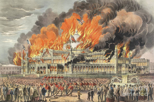 Wall Art - Painting - Burning Of The New York Crystal Palace In 1858 by Currier and Ives