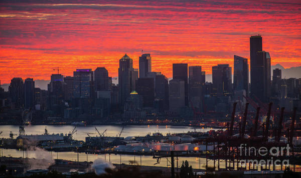 Wall Art - Photograph - Burning Seattle Cityscape Sunrise by Mike Reid