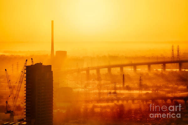 Photograph - Burning Sunset Through Smog by Ray Warren