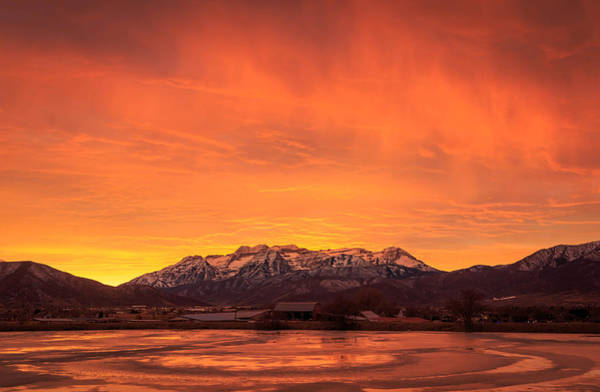 Awe Photograph - Burning Winter Sunset. by Johnny Adolphson
