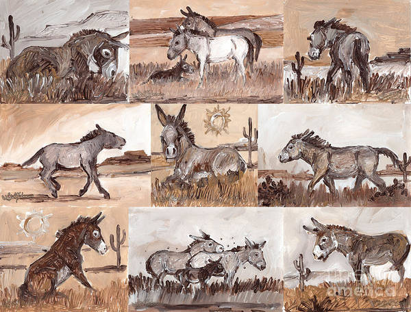 Painting - Burros Of The South West Sampler by Linda L Martin