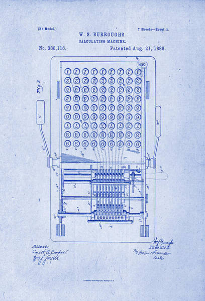 Artful Drawing - Burroughs Calculating Machine Patent Drawing 1888 Blueprint Inverse by Patently Artful