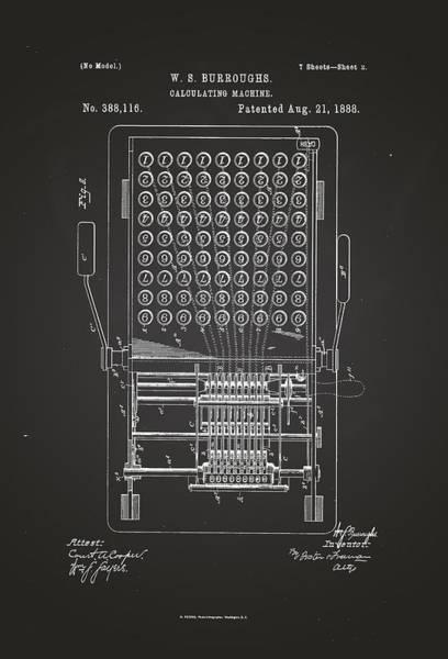 Artful Drawing - Burroughs Calculating Machine Patent Drawing 1888 Chalkboard by Patently Artful