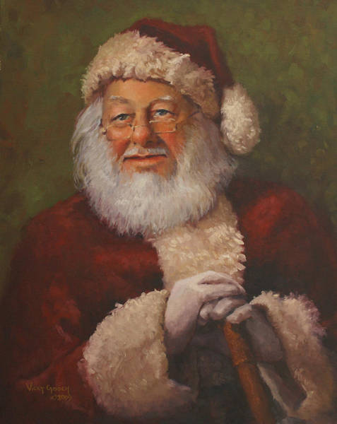 Santa Painting - Burts Santa by Vicky Gooch