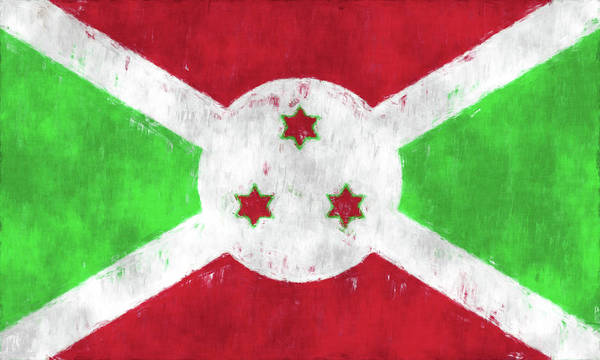 East Africa Digital Art - Burundi Flag by World Art Prints And Designs