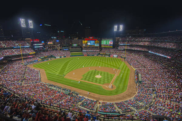 Photograph - Busch Stadium St. Louis Cardinals Ball Park Village Night  #2e by David Haskett II