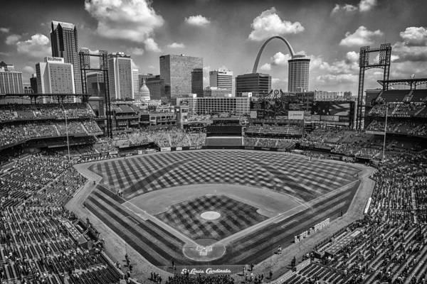 Photograph - Busch Stadium St. Louis Cardinals Black White Ballpark Village by David Haskett II