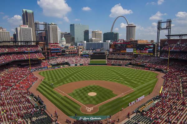 Photograph - Busch Stadium T. Louis Cardinals Ball Park Village National Anthem #3a by David Haskett II