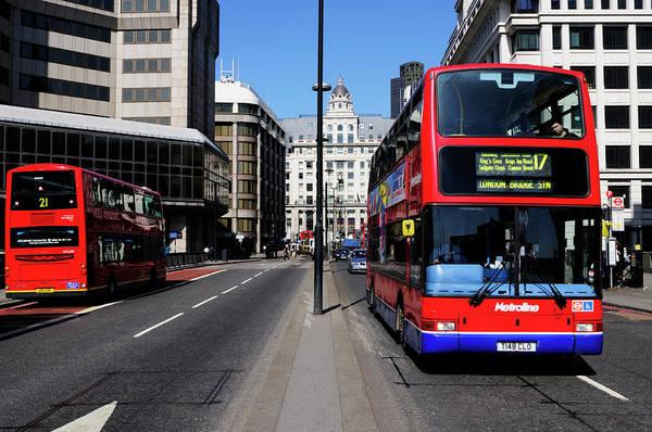 Wall Art - Photograph - Buses On London Bridge by Liz Pinchen